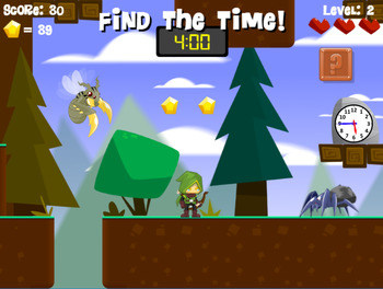 Time Hunter | Telling Time | Clock Game | Free at RoomRecess.com