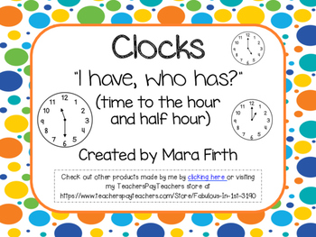 Time I have Who Has - Hour and Half Hour