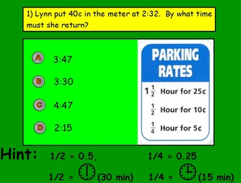 Time - INTERPRETING TIME IN 15 and `30 MINUTE INCREMENTS; (SMART BOARD)