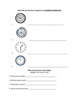 Time - La hora - Quiz