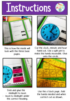 Time Lap Book Telling time to the hour, half past, quarter to and quarter past