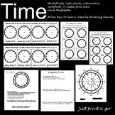 Time - worksheets, interactive notebook templates, clock t