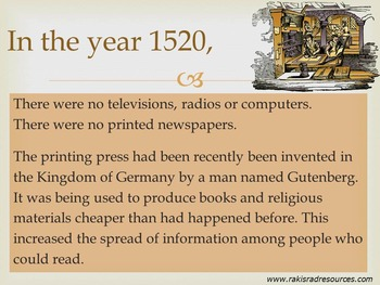 Time Machine: 1520 - Power Point Presentation
