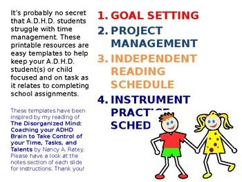 Time Management Templates for A.D.H.D. Middle Schoolers