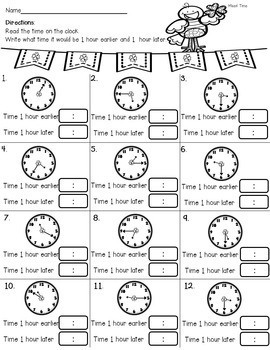 March Time  1st and 2nd, Telling Time Activities Common Core