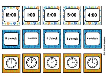 Time Matching Games To The Hour: Beach Theme