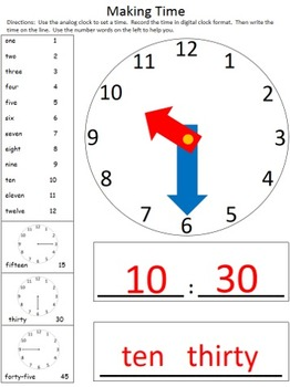 Time Math Center - Tell Time to the Hour, Half Hour and Quarter Hour