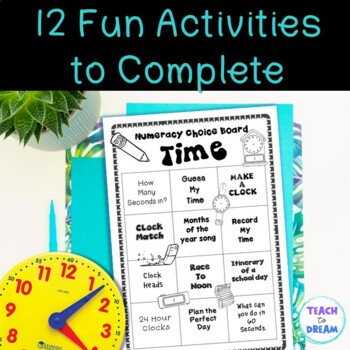 Time Math Choice Grid: Tasks, Activities and Worksheets
