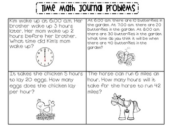 time math journal problems by samantha halbert tpt. Black Bedroom Furniture Sets. Home Design Ideas