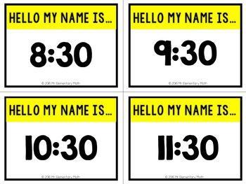 Time Math Name Tags