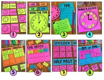 Time Math Stations - Hour, Half Hour and Quarter Hour
