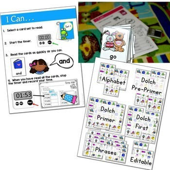 Dolch Word Fluency:  Time Me! Editable BUNDLE