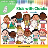 Time Measurement Clip Art - Kids with Clocks