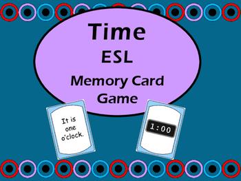 Time Memory Card Game - ESL Time Vocabulary