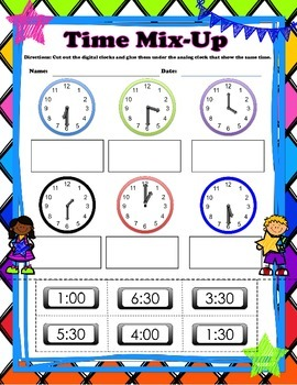 Time Mix Up Math Activity