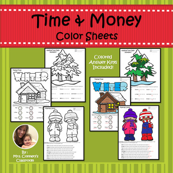 Time & Money Holiday/Christmas Color Sheets