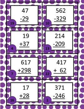 Time, Money, and Addition Subtraction with and without Regrouping Carousel Game