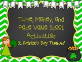 Time, Money, and Place Value Scoot Activities (St. Patrick's Day Themed)