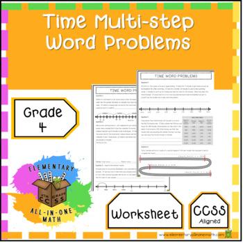 Time Multi-step Word Problems Worksheet - 4th Grade Measurement (4.MD.2)