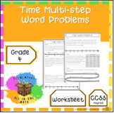 Time Multi-step Word Problems Worksheet - 4th Grade Measurement (4.MD.2)
