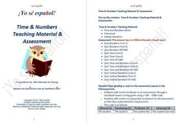 Time & Numbers   Teaching Material & Assessment