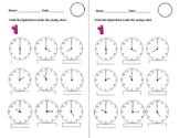 Time O'Clock mini Worksheets Analog to Digital  (English)