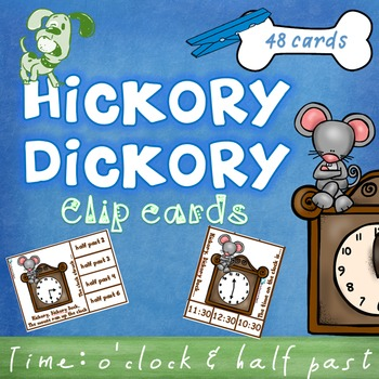 Time O'clock half past clip cards