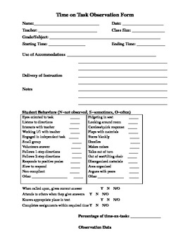 Time On Task Observation Form