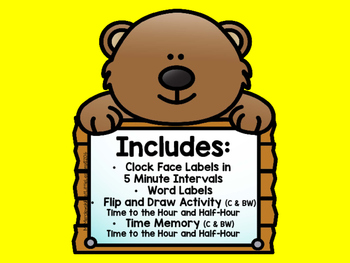 Time On The Clock Face:Bear Labels