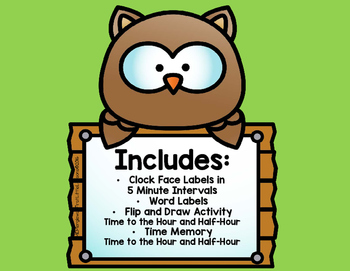 Time On The Clock Face: Owl Labels