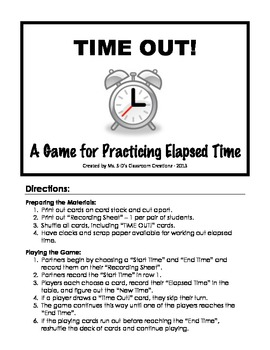 Time Out!  A Game for Practicing Elapsed Time