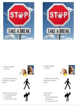 Time Out, Be Flexible, Stop and take a break
