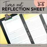 Time Out Behavior Reflection Sheet | Behavior Management | Reflection Tool
