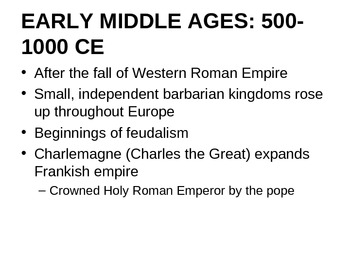 Time Periods of the Middle Ages Overview