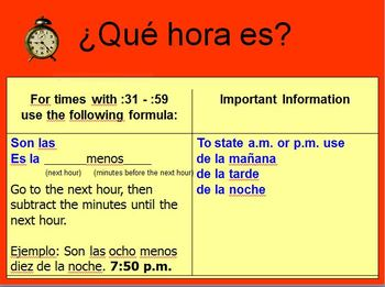 Time PowerPoint in Spanish