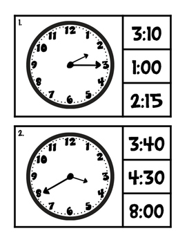 Time Practice (quarter hour/5 minute intervals) - Clip It Cards