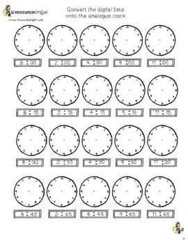 Free Taster Pack for Time Practice Pack with differentiated clock activities