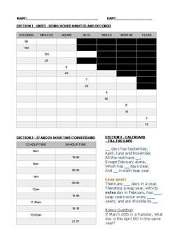 Time Pre-Test (AusVELS level 4)
