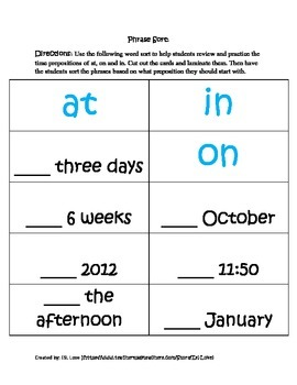 Time Prepositions: At, On, In (Worksheet, Sorts and Anchor Poster)