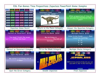 Time Prepositions Jeopardy PowerPoint Game