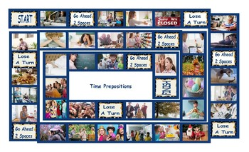Time Prepositions Legal Size Photo Board Game