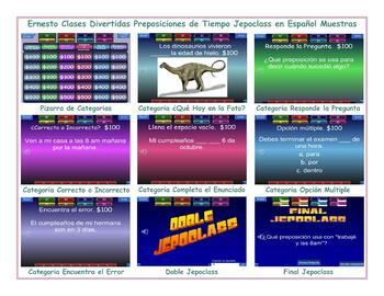Time Prepositions Spanish Jeopardy Game