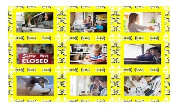 Time Prepositions Spanish Legal Size Photo Card Game