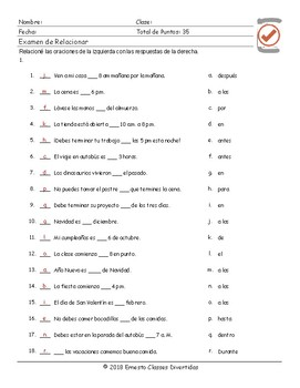 Time Prepositions Spanish Matching Exam