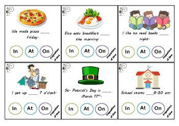 Time Prepositions task cards
