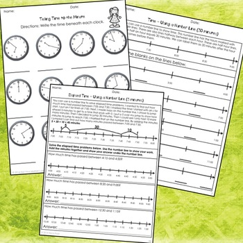 Telling Time and Elapsed Time Free Sample