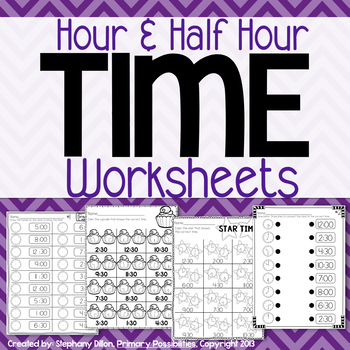 Time Printables: Hour & Half Hour {Homework, Seat Work, an