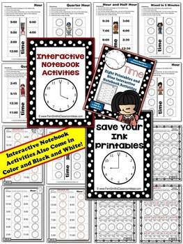 Time To the Five Minutes Printables and Interactive Notebook Activities