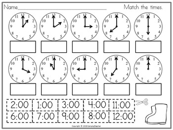 Time Printables for Practicing Analog and Digital Clocks Hour and Half-Hour