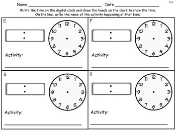 Time - Problem Solving: Using Data from a Table - First Grade enVision Math